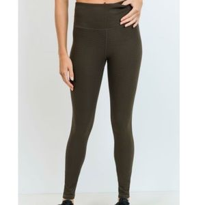 Olive Green Textured Athletic Leggings